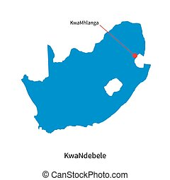 Detailed vector map of KwaNdebele and capital city...