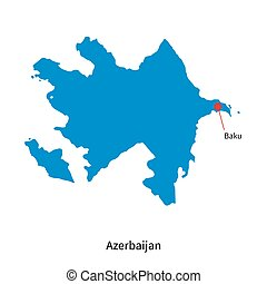 Detailed vector map of Azerbaijan and capital city Baku