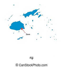 Detailed vector map of Fiji and capital city Suva
