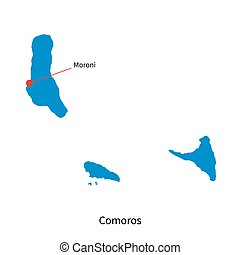 Detailed vector map of Comoros and capital city Moroni