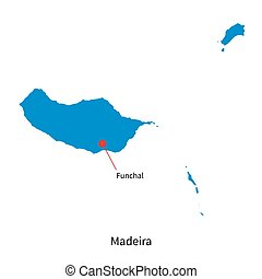 Detailed vector map of Madeira and capital city Funchal