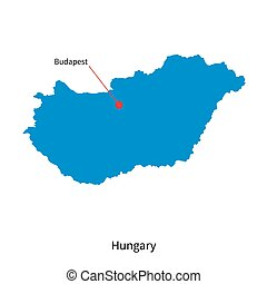 Detailed vector map of Hungary and capital city Budapest