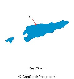 Detailed vector map of East Timor and capital city Dili