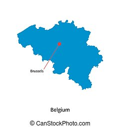 Detailed vector map of Belgium and capital city Brussels