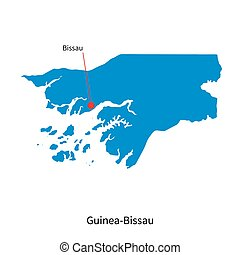 Detailed vector map of Guinea-Bissau and capital city Bissau