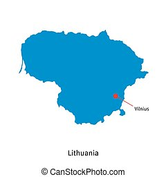 Detailed vector map of Lithuania and capital city Vilnius