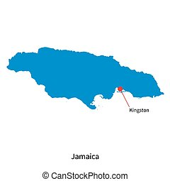 Detailed vector map of Jamaica and capital city Kingston