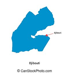 Detailed vector map of Djibouti and capital city Djibouti
