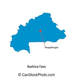 Detailed vector map of Burkina Faso and capital city...