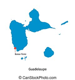 Detailed vector map of Guadeloupe and capital city...