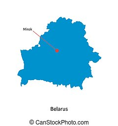 Detailed vector map of Belarus and capital city Minsk