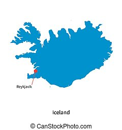 Detailed vector map of Iceland and capital city Reykjavik