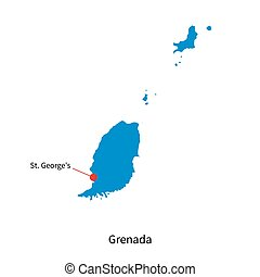 Vector map of Grenada and capital city St Georges - Detailed...