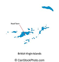 Map of British Virgin Islands and capital city Road Town -...