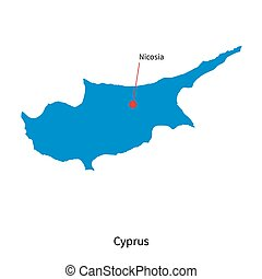Detailed vector map of Cyprus and capital city Nicosia