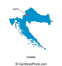 Detailed vector map of Croatia and capital city Zagreb
