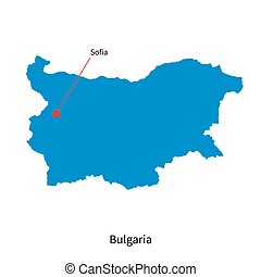 Detailed vector map of Bulgaria and capital city Sofia