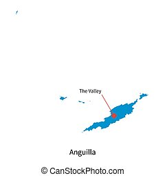 Detailed vector map of Anguilla and capital city The Valley