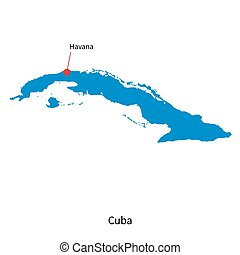 Detailed vector map of Cuba and capital city Havana