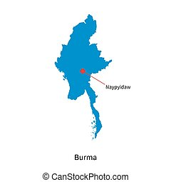 Detailed vector map of Burma and capital city Naypyidaw