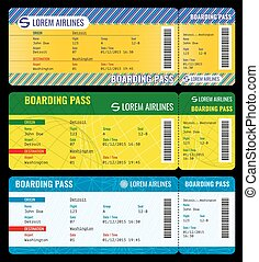 Airline boarding pass modern tickets vector mockup