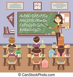 School lesson in classroom with child, pupils and teachers. Vector flat illustration