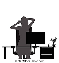 girl in office with mobile phone illustration