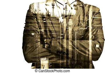 Double exposure Businessman or Civil Engineer stand with...