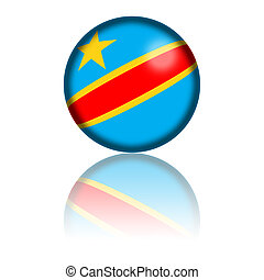 Democratic Republic of the Congo Flag Sphere 3D Rendering -...