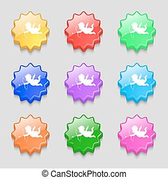 Cupid icon sign. symbol on nine wavy colourful buttons....