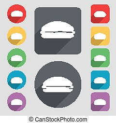 Burger, hamburger icon sign. A set of 12 colored buttons and...