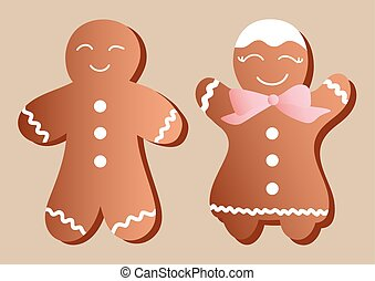 gingerbread manikins - Drawing of a set of a two...
