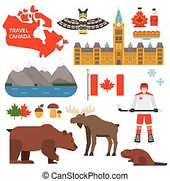 Canada symbols vector illustration - Travel Canada...