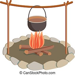 Pot on bonfire vector illustration. - Isolated bonfire with...
