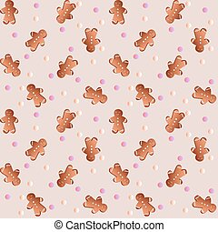pattern with gingerbreads - Drawing of a seamless pattern...
