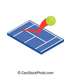 Flying tennis ball on a blue court icon in isometric 3d...