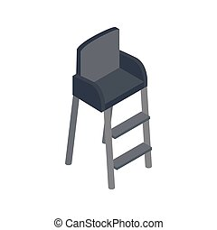 Tennis referee chair icon, isometric 3d style