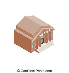 Theatre building icon in isometric 3d style on a white...