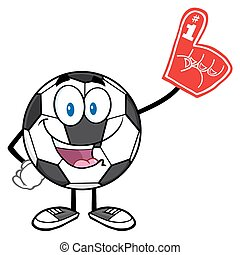 Soccer Ball Wearing A Foam Finger - Happy Soccer Ball...