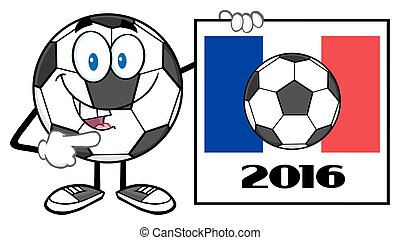 Soccer Ball With France Flag Sign - Pointing Soccer Ball...