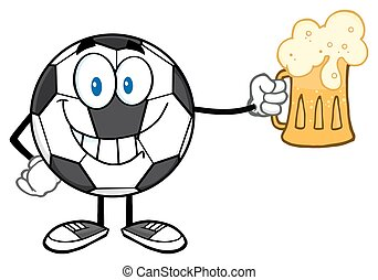 Soccer Ball Holding A Beer Glass - Smiling Soccer Ball...