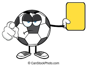 Ball Showing Yellow Card - Soccer Ball Cartoon Mascot...