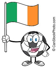 Happy Soccer Ball Holding A Flag