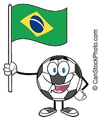 Brasil, bandeira, bola, segurando