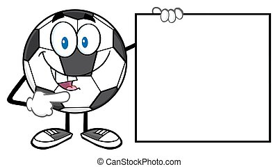 Ball Pointing To A Blank Sign