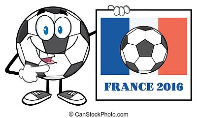 Ball With France Flag And Text - Pointing Soccer Ball...