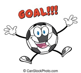 Ball Jumping With Text Goal - Happy Soccer Ball Cartoon...