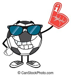Soccer Ball With Sunglasses - Smiling Soccer Ball Cartoon...