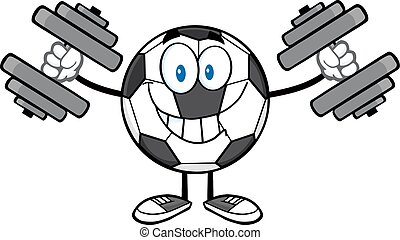 Soccer Ball With Dumbbells - Smiling Soccer Ball Cartoon...