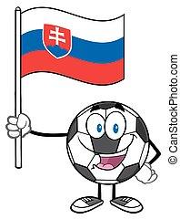 Ball Holding A Flag Of Slovakia - Happy Soccer Ball Cartoon...